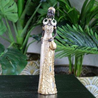 Home & Deco Beeldje Afrikaanse dame goud