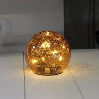 Home & Deco Glazen bol amber met LED-lampjes