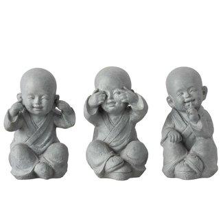 Home & Deco Set van monniken horen-zien-zwijgen - Grijs 27 cm