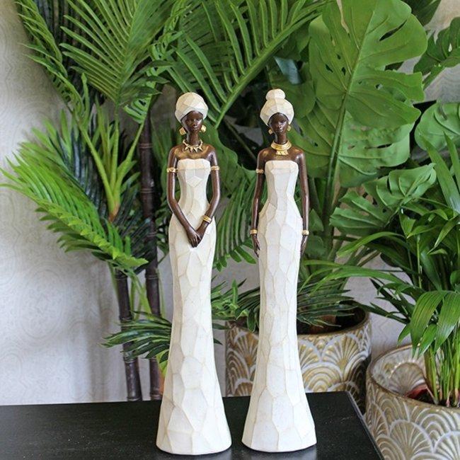Home & Deco Afrikaanse dame B in witte jurk- 31 cm hoog