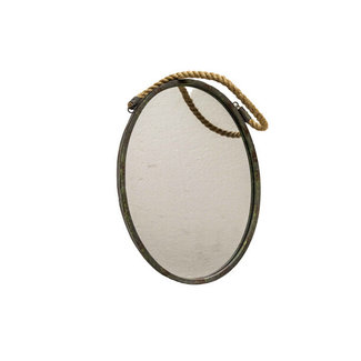 Home & Deco Spiegel ovaal met metalen rand aan touw
