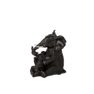 Home & Deco Beeldje olifant zittend met kind zwart
