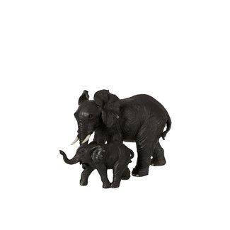 Home & Deco Beeldje olifant lopend met kind zwart