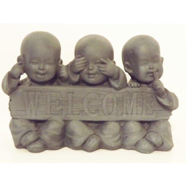 Home & Deco Monniken Welcome - horen, zien, zwijgen