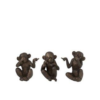 Home & Deco Bruine aapjes horen, zien, zwijgen (set van 3)