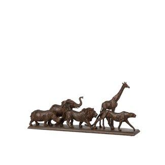 Home & Deco Beeld wandelende kudde dieren - bruin