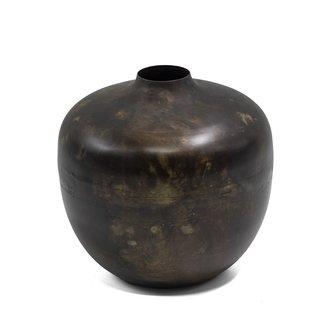 Home & Deco Metalen vaas zwart  bruin
