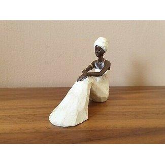 Home & Deco Beeldje Afrikaanse dame zittend - wit