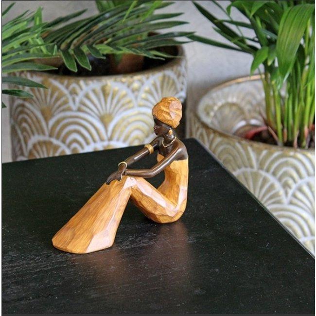 Home & Deco Beeldje Afrikaanse dame zittend - bruin
