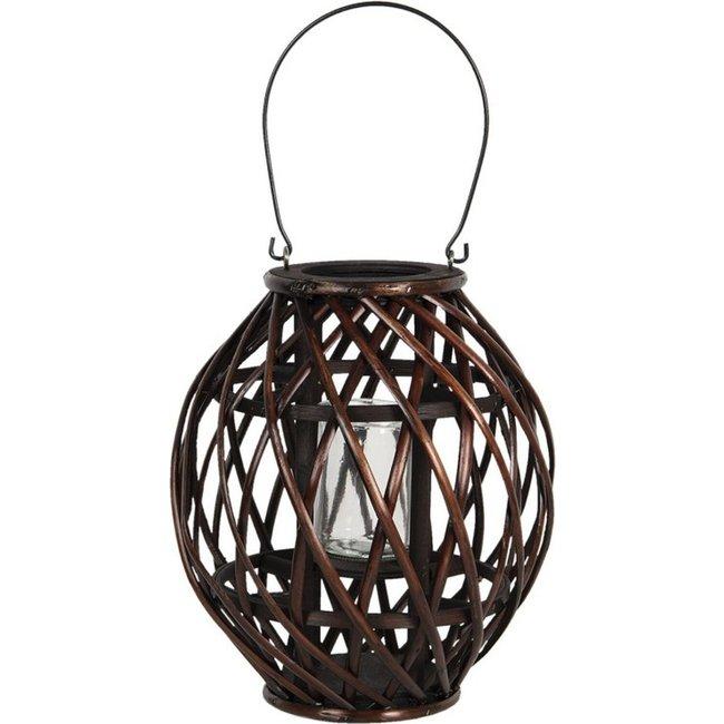 Home & Deco Houten lantaarn bruin - 30 cm