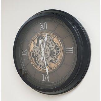 Home & deco Wandklok grijs-zwart met draaiende tandwielen 60 cm