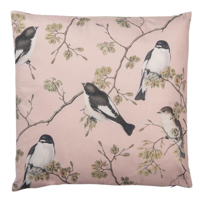 Clayre & Eef Sierkussen vogels op bloesemtak roze 45x45 cm