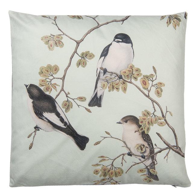 Clayre & Eef Sierkussen vogels op bloesemtak mint 45x45 cm