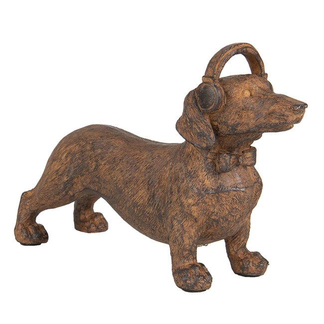 Clayre & Eef Decoratie beeld hond teckel bruin
