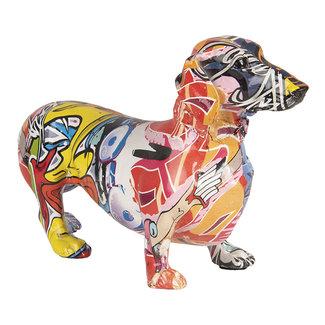 Clayre & Eef Decoratie beeld hond teckel graffiti