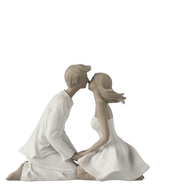 Jolipa Decoratiebeeld - Kussend koppel man/vrouw - 20cm