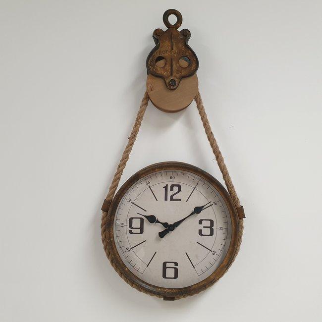 Home & Deco Ronde klok aan katrol 32 cm