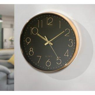 Home&Deco Klok goud zwart 30 cm