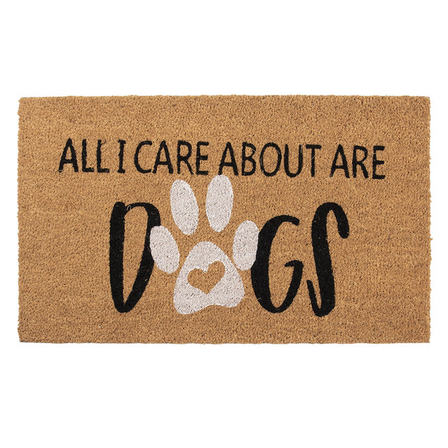 Clayre & Eef Kokos deurmat All I Care About Are Dogs