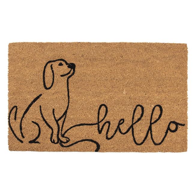 Clayre & Eef Kokos deurmat Hello Hond 75x45cm