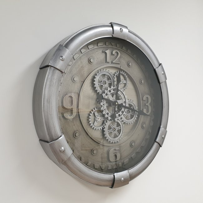 Home & Deco Radarklok-tandwiel klok met glasplaat darving zilver 62cm