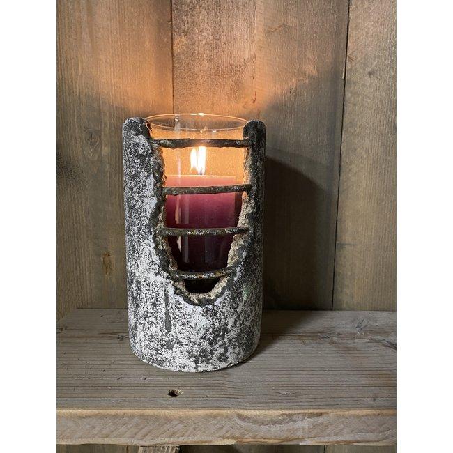 Home & Deco Beton windlicht xxl inclusief glazen pot