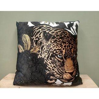 Bali-Dreams Sierkussen fluweel Panter jungle zwart 45x45cm