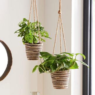 Home&Deco Set van 2 gevlochten bloempotten / plantenhangers