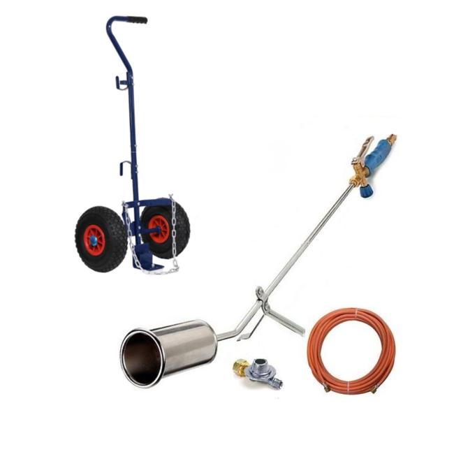 CFH Onkruidbrander met gasslang, drukregelaar en Gasflestrolley