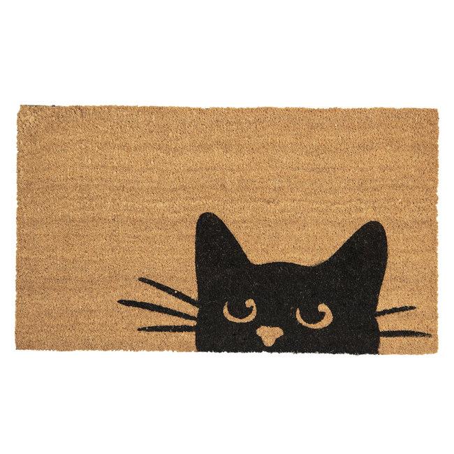 Clayre en Eef Kokos deurmat kattenkop 75 x 45 cm