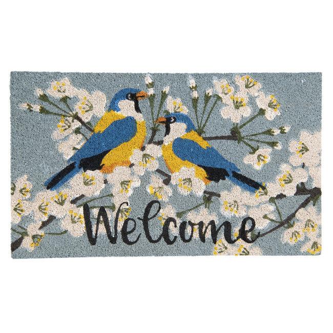 Clayre en Eef Kokos deurmat vogels op bloesemtak 75 x 45 cm