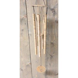 Bali-Dreams Metalen windgong wood look met 5 pijpen 75 cm
