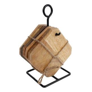 home en deco Handgemaakte houten onderzetters met standaard