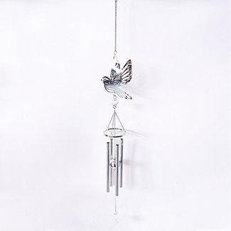 home en deco Metalen vogel windgong met 4 buizen