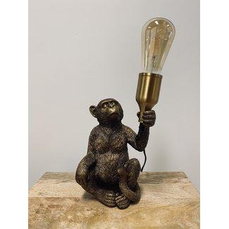 home en deco Tafellamp zittende Monkey Goud