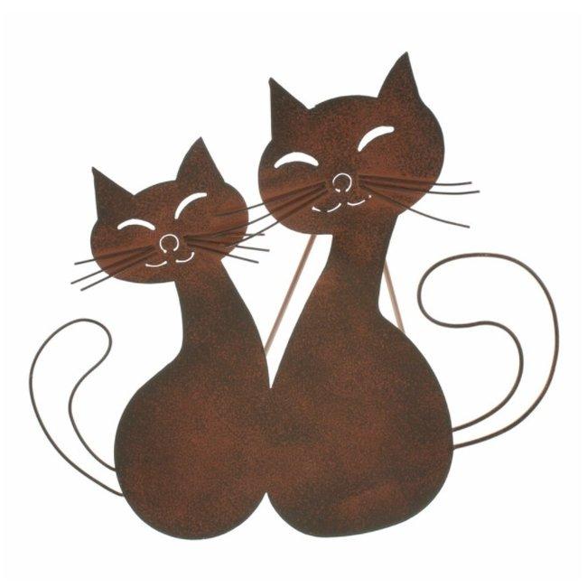 Home & Deco Kattenpaar van bruin metaal voor decoratie.