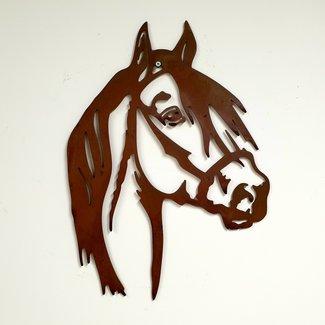 Home & Deco Silhouette van paardenhoofd metaal roest.