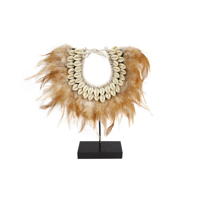 Home & Deco Decoratie op voet veren schelpen en touw bruin 31x18x6cm