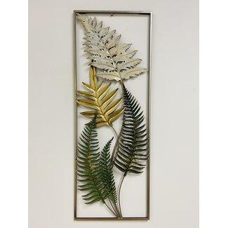 home en deco Metalen Multi Color wanddecoratie 5 Long Leaves