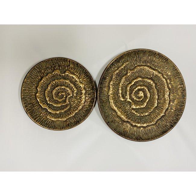 home en deco Set van 2 Metalen plateaus Oxidize Gold