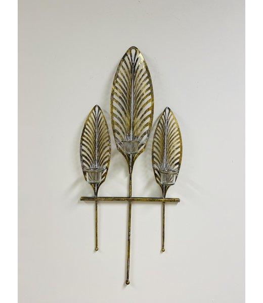 Wand waxinelichthouder met goud blad