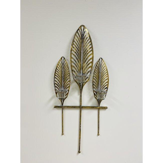 Home&Deco Wand waxinelichthouder met goud blad