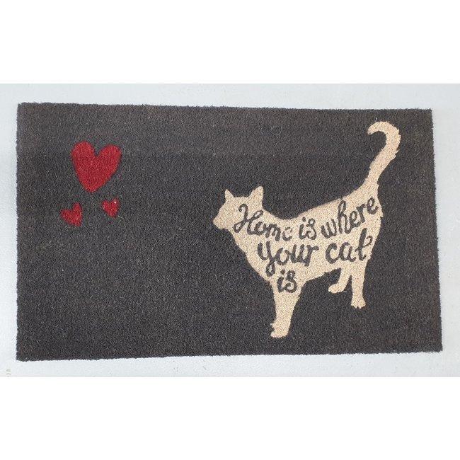 Clayre en Eef  Kokos deurmat kat met hartjes 75 x 45 cm