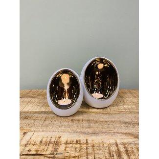 Home&Deco Theelicht set pim S/M Wit/goud