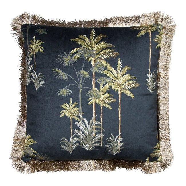 Bali-Dreams Kussen fluweel gouden franjes palmboom zwart 45x45cm
