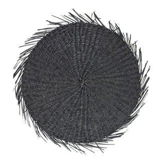 Bali-Dreams Wanddecoratie Zeegras cirkel franjes zwart  38cm