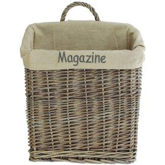"""Home & Deco Lectuurmand  tijdschriftenmand """"Magazine"""" vergrijsd  krantenmand"""