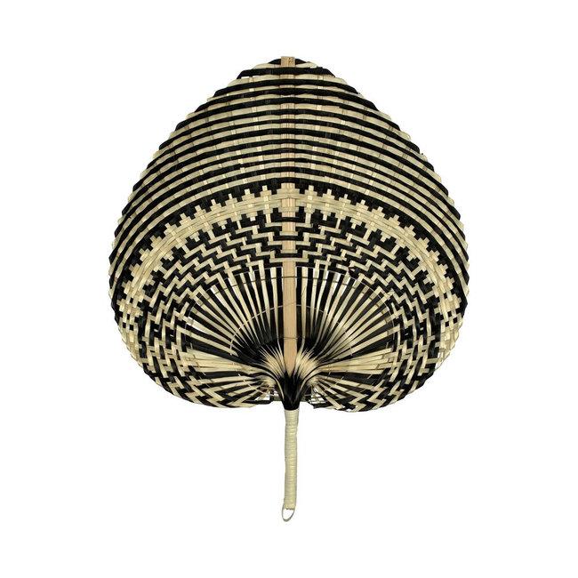Bali-Dreams Bamboo Waaier streep Zwart/naturel 40cm