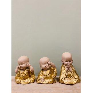 home en deco Set van 3  boeddha monniken horen-zien-zwijgen-goud.