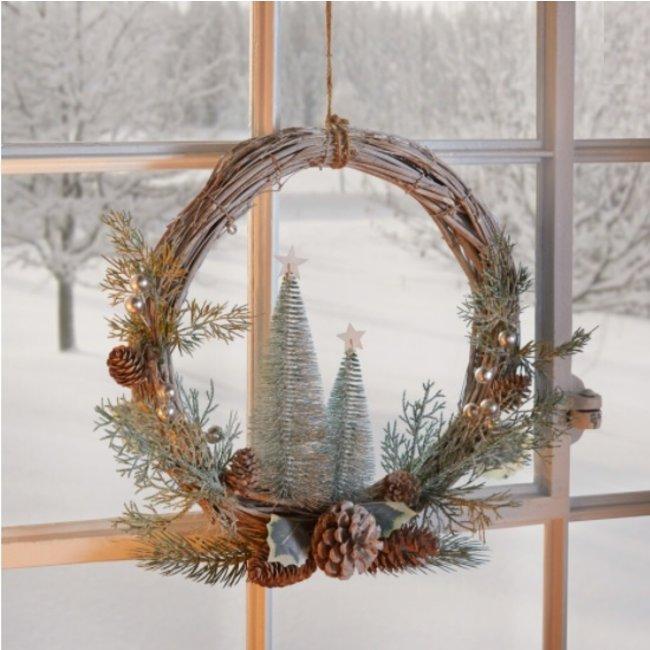 Home & Deco Decoratie kerstkrans  winterbos 45 cm